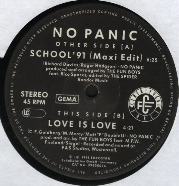 "No Panic School '91 12"""